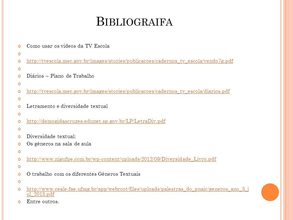 B IBLIOGRAIFA Como usar os videos da TV Escola http://tvescola.mec.gov.br/images/stories/publicacoes/cadernos_tv_escola/vendo7g.pdf Diários – Plano de