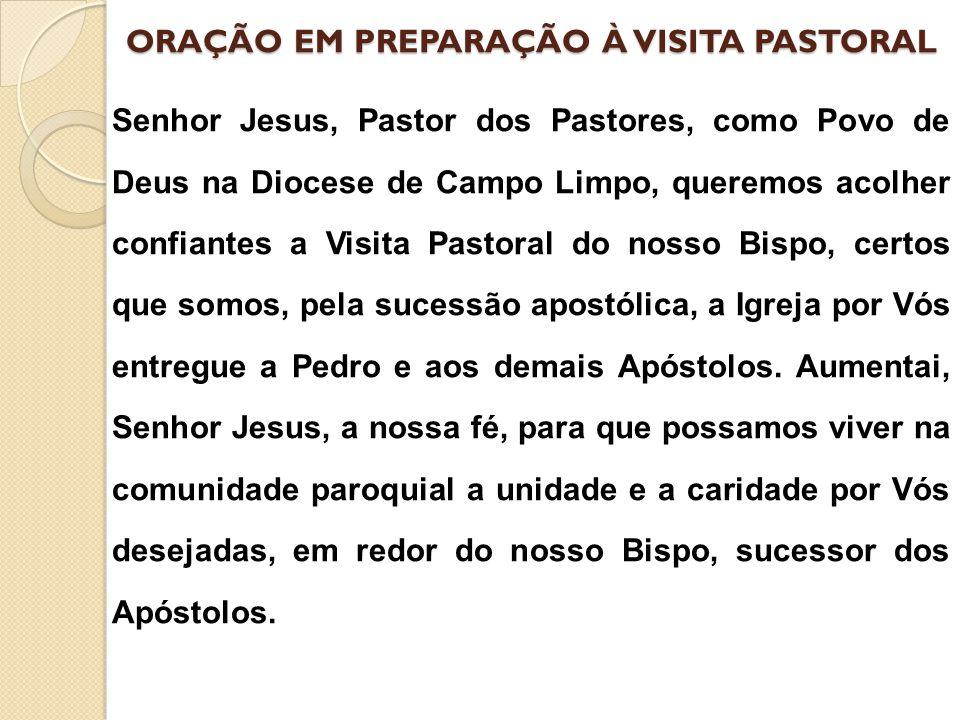 ORAÇÃO EM PREPARAÇÃO À VISITA PASTORAL Senhor Jesus, Pastor dos Pastores, como Povo de Deus na Diocese de Campo Limpo, queremos acolher confiantes a V