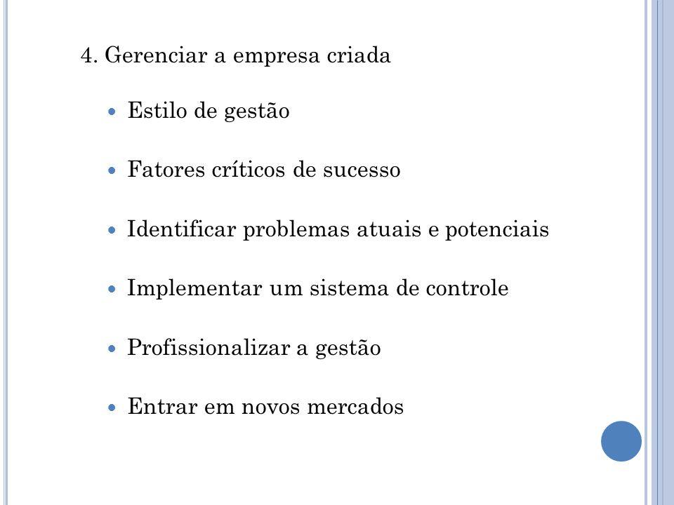 4. Gerenciar a empresa criada Estilo de gestão Fatores críticos de sucesso Identificar problemas atuais e potenciais Implementar um sistema de control