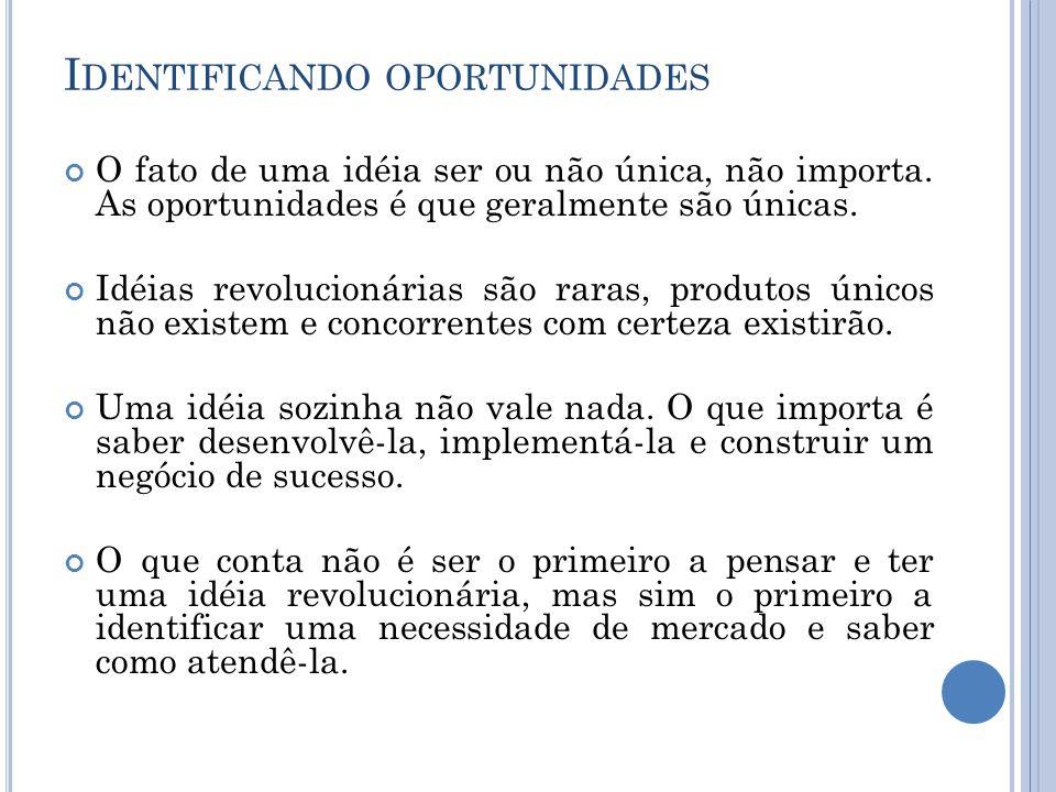 I DENTIFICANDO OPORTUNIDADES O fato de uma idéia ser ou não única, não importa. As oportunidades é que geralmente são únicas. Idéias revolucionárias s