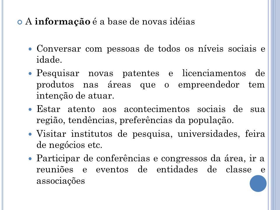 A informação é a base de novas idéias Conversar com pessoas de todos os níveis sociais e idade. Pesquisar novas patentes e licenciamentos de produtos
