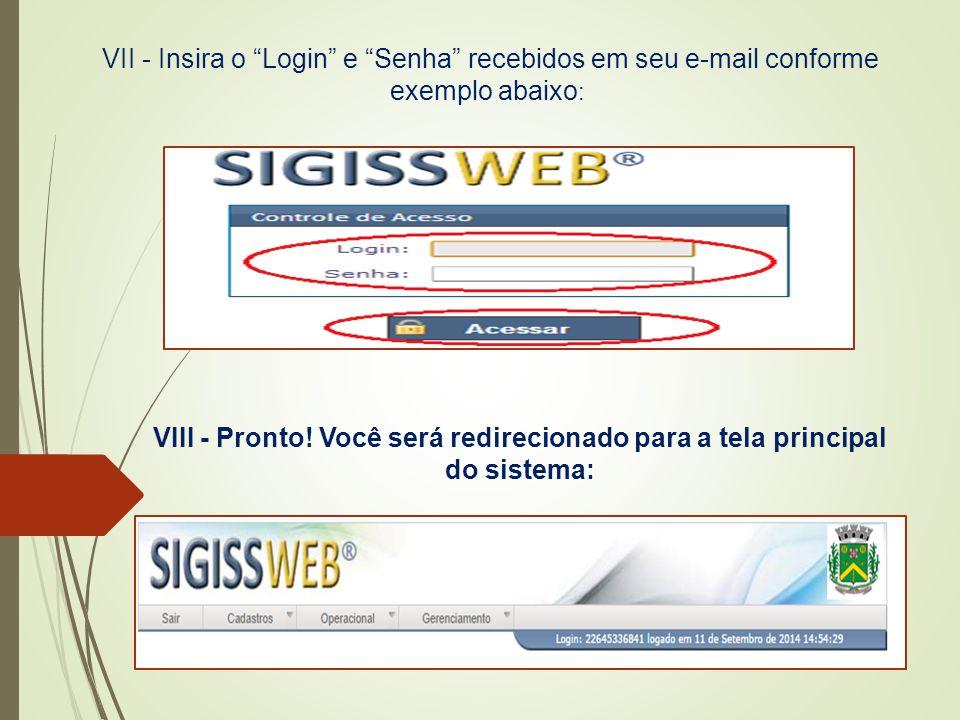 """VII - Insira o """"Login"""" e """"Senha"""" recebidos em seu e-mail conforme exemplo abaixo : VIII - Pronto! Você será redirecionado para a tela principal do sis"""