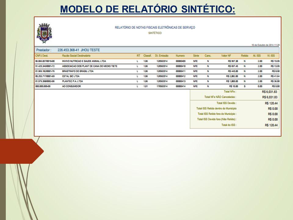 MODELO DE RELATÓRIO SINTÉTICO: