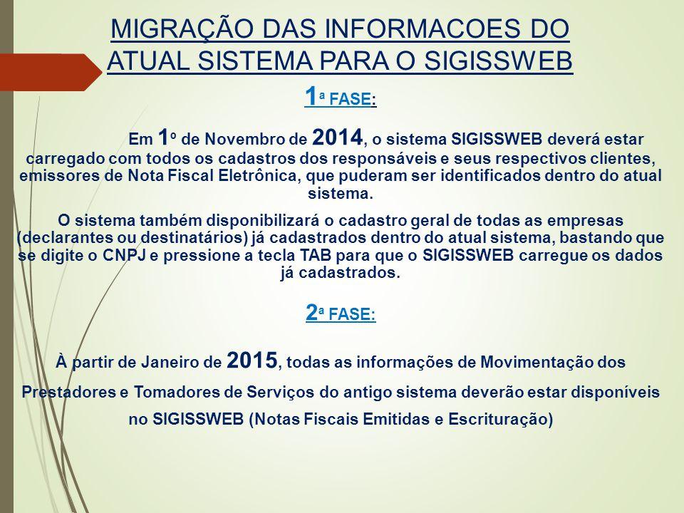 MIGRAÇÃO DAS INFORMACOES DO ATUAL SISTEMA PARA O SIGISSWEB 1 ª FASE: Em 1 º de Novembro de 2014, o sistema SIGISSWEB deverá estar carregado com todos