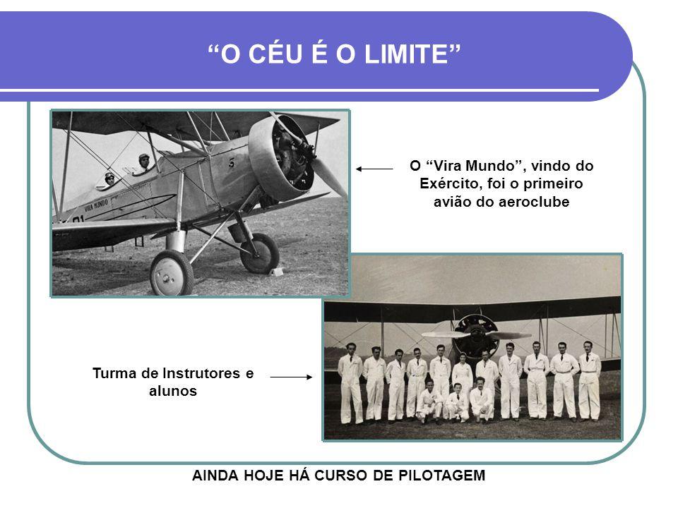 AINDA HOJE HÁ CURSO DE PILOTAGEM O CÉU É O LIMITE O Vira Mundo , vindo do Exército, foi o primeiro avião do aeroclube Turma de Instrutores e alunos