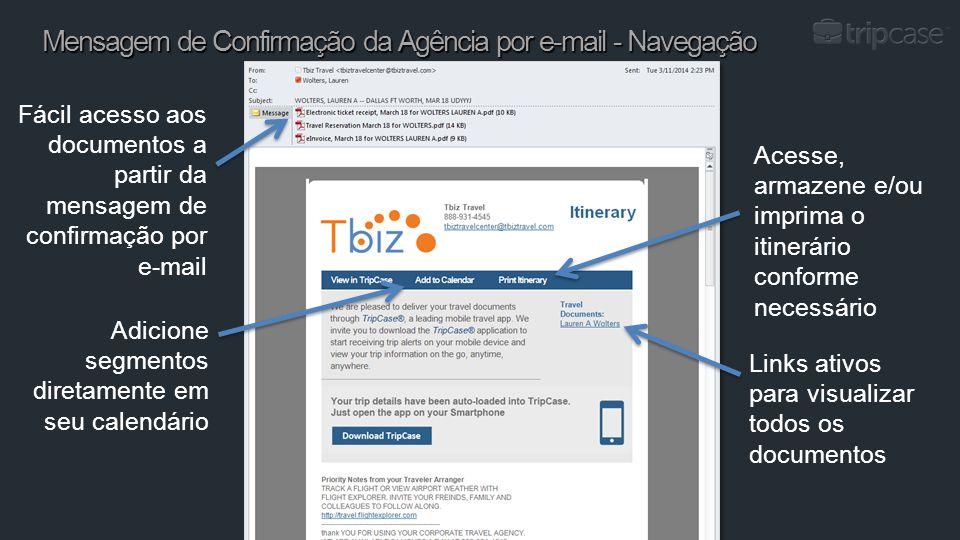 10 Confidencial Fácil acesso aos documentos a partir da mensagem de confirmação por e-mail Adicione segmentos diretamente em seu calendário Acesse, ar