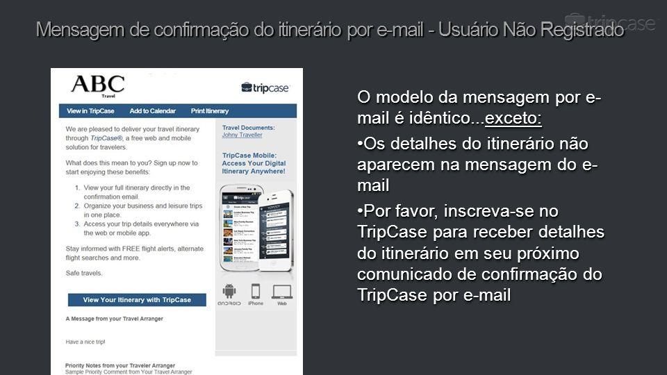 Mensagem de confirmação do itinerário por e-mail - Usuário Não Registrado O modelo da mensagem por e- mail é idêntico...exceto: Os detalhes do itinerá