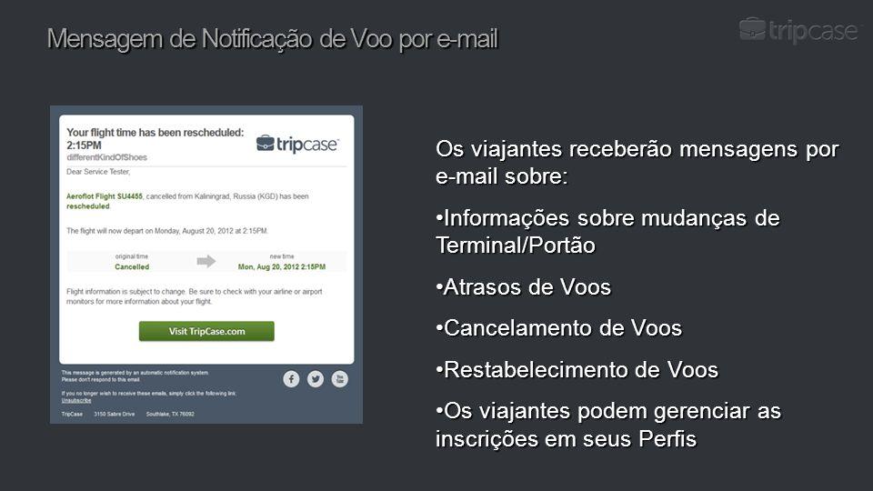 Mensagem de Notificação de Voo por e-mail Os viajantes receberão mensagens por e-mail sobre: Informações sobre mudanças de Terminal/PortãoInformações