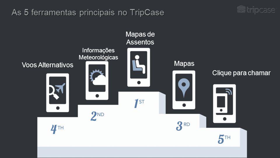As 5 ferramentas principais no TripCase Voos Alternativos Informações Meteorológicas Clique para chamar Mapas Mapas de Assentos