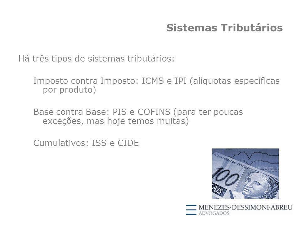Sistemas Tributários Há três tipos de sistemas tributários: Imposto contra Imposto: ICMS e IPI (alíquotas específicas por produto) Base contra Base: PIS e COFINS (para ter poucas exceções, mas hoje temos muitas) Cumulativos: ISS e CIDE