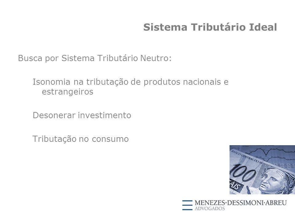 Sistema Tributário Ideal Busca por Sistema Tributário Neutro: Isonomia na tributação de produtos nacionais e estrangeiros Desonerar investimento Tributação no consumo