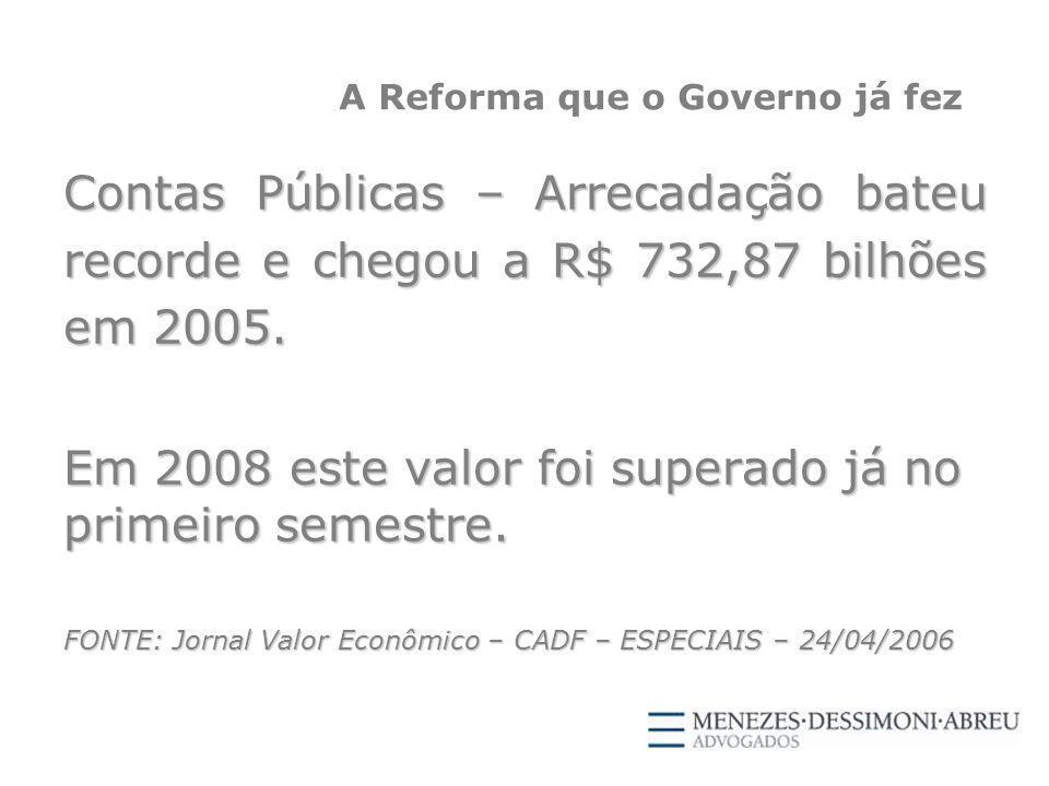 A Reforma que o Governo já fez Contas Públicas – Arrecadação bateu recorde e chegou a R$ 732,87 bilhões em 2005.