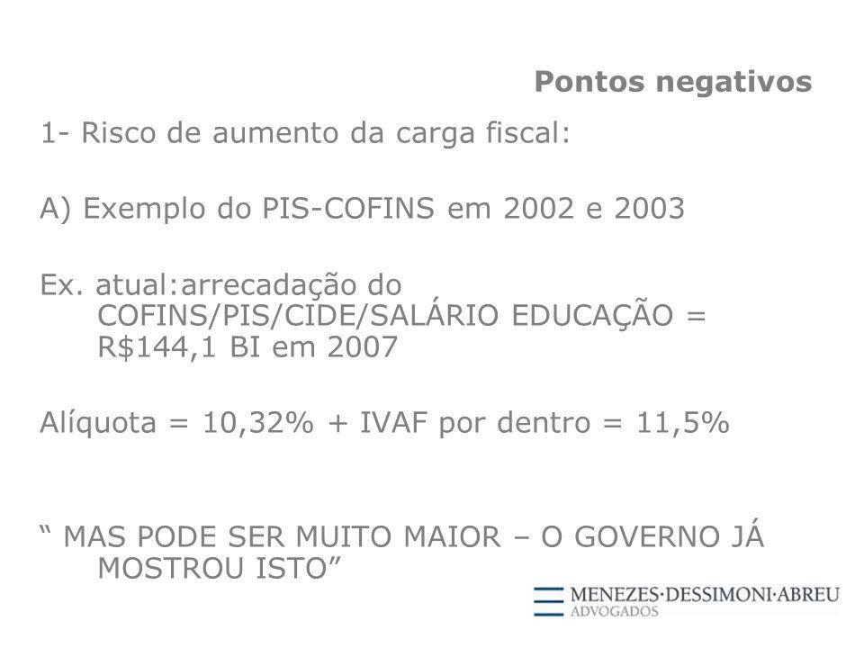 Pontos negativos 1- Risco de aumento da carga fiscal: A) Exemplo do PIS-COFINS em 2002 e 2003 Ex.