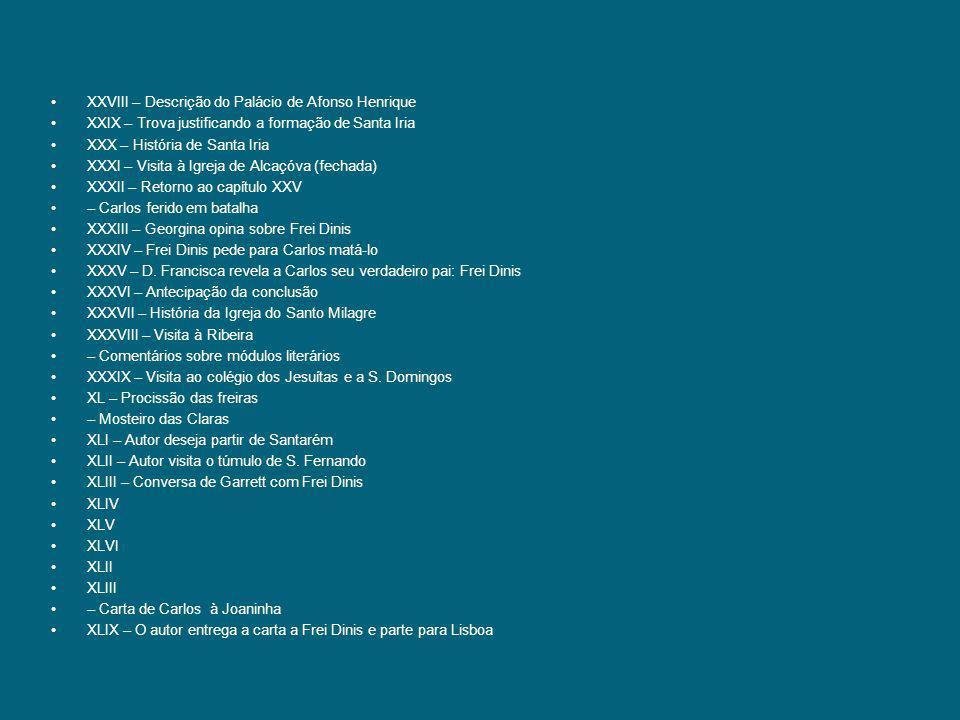XXVIII – Descrição do Palácio de Afonso Henrique XXIX – Trova justificando a formação de Santa Iria XXX – História de Santa Iria XXXI – Visita à Igrej