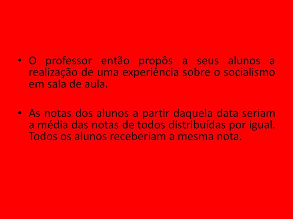 O professor então propôs a seus alunos a realização de uma experiência sobre o socialismo em sala de aula. As notas dos alunos a partir daquela data s