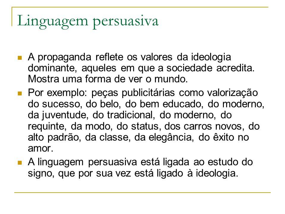 Linguagem persuasiva A propaganda reflete os valores da ideologia dominante, aqueles em que a sociedade acredita.