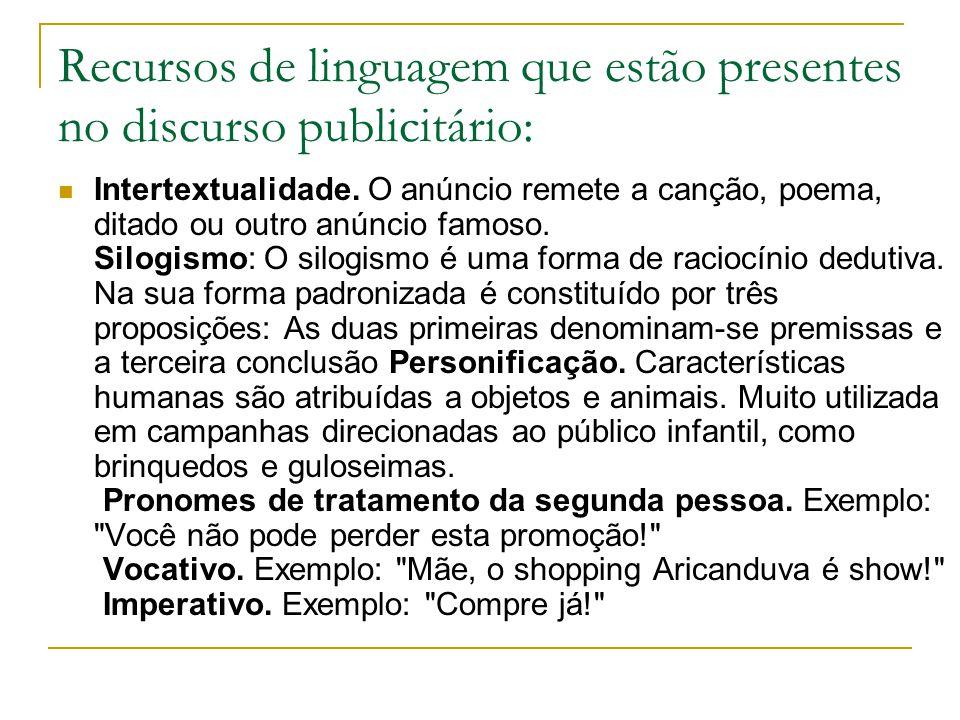 Recursos de linguagem que estão presentes no discurso publicitário: Intertextualidade.
