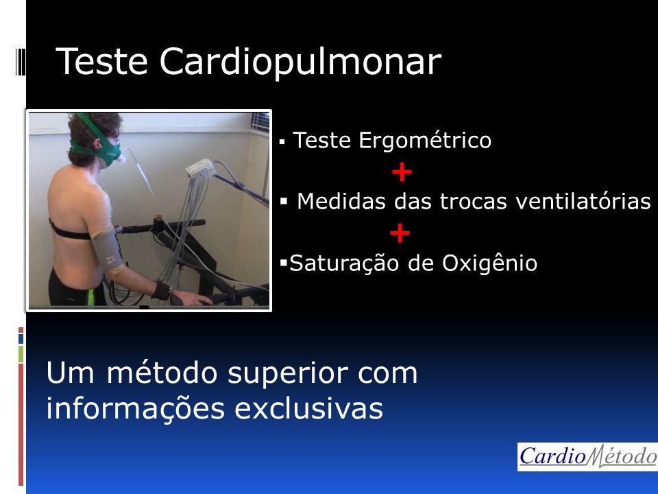 Teste Cardiopulmonar  Teste Ergométrico +  Medidas das trocas ventilatórias +  Saturação de Oxigênio Um método superior com informações exclusivas