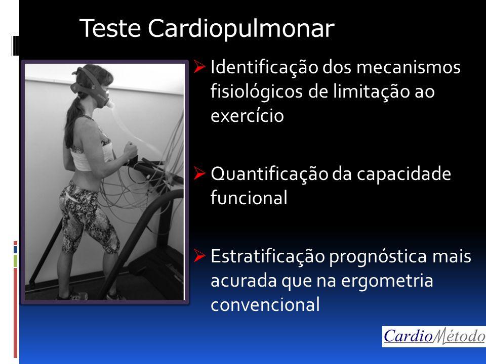 Teste Cardiopulmonar  Identificação dos mecanismos fisiológicos de limitação ao exercício  Quantificação da capacidade funcional  Estratificação prognóstica mais acurada que na ergometria convencional