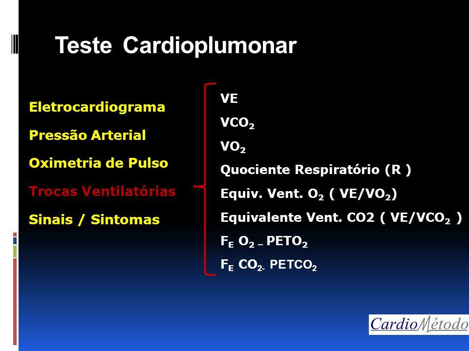 Teste Cardioplumonar VE VCO 2 VO 2 Quociente Respiratório (R ) Equiv. Vent. O 2 ( VE/VO 2 ) Equivalente Vent. CO2 ( VE/VCO 2 ) F E O 2 – PETO 2 F E CO