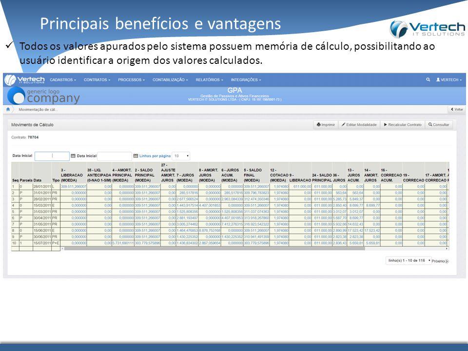 Principais benefícios e vantagens Todos os valores apurados pelo sistema possuem memória de cálculo, possibilitando ao usuário identificar a origem dos valores calculados.