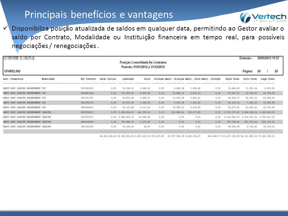 Principais benefícios e vantagens Disponibiliza posição atualizada de saldos em qualquer data, permitindo ao Gestor avaliar o saldo por Contrato, Modalidade ou Instituição financeira em tempo real, para possíveis negociações / renegociações.