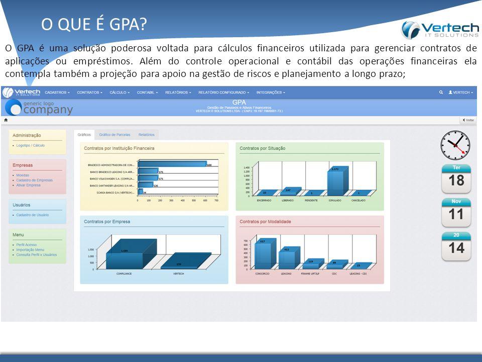 O GPA é uma solução poderosa voltada para cálculos financeiros utilizada para gerenciar contratos de aplicações ou empréstimos. Além do controle opera