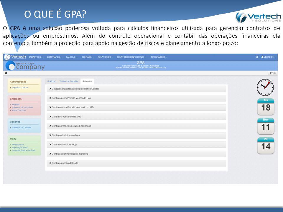 O GPA é uma solução poderosa voltada para cálculos financeiros utilizada para gerenciar contratos de aplicações ou empréstimos.