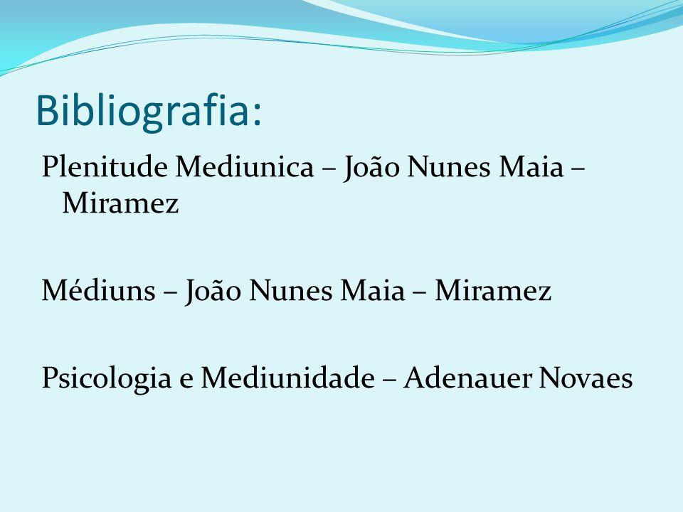 Bibliografia: Plenitude Mediunica – João Nunes Maia – Miramez Médiuns – João Nunes Maia – Miramez Psicologia e Mediunidade – Adenauer Novaes