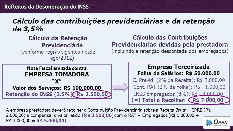 """Cálculo das contribuições previdenciárias e da retenção de 3,5% Nota Fiscal emitida contra EMPRESA TOMADORA """"X"""" Valor dos Serviços: R$ 100.000,00 Rete"""