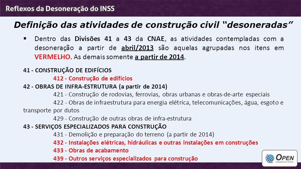"""Definição das atividades de construção civil """"desoneradas""""  Dentro das Divisões 41 a 43 da CNAE, as atividades contempladas com a desoneração a parti"""