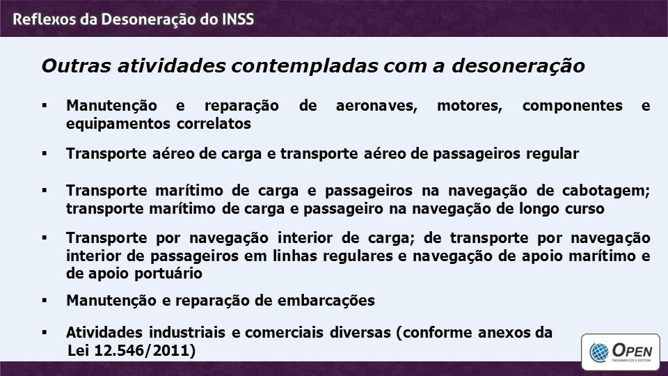 Outras atividades contempladas com a desoneração  Manutenção e reparação de aeronaves, motores, componentes e equipamentos correlatos  Transporte aé