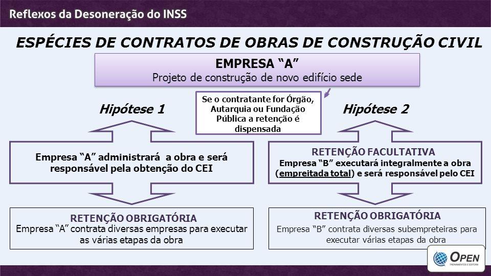 """ESPÉCIES DE CONTRATOS DE OBRAS DE CONSTRUÇÃO CIVIL EMPRESA """"A"""" Projeto de construção de novo edifício sede EMPRESA """"A"""" Projeto de construção de novo e"""