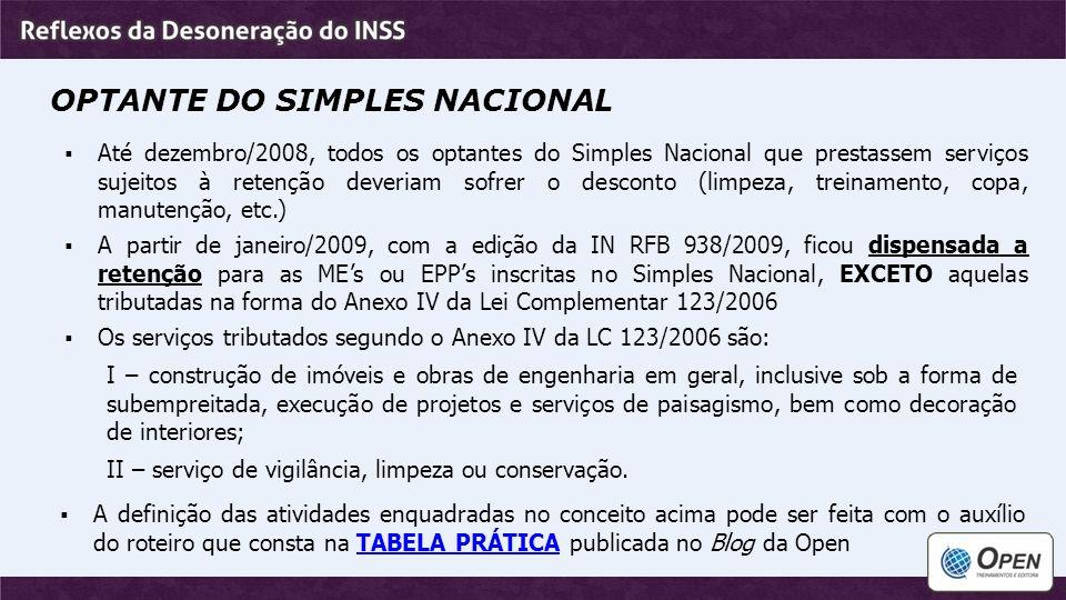 OPTANTE DO SIMPLES NACIONAL  Até dezembro/2008, todos os optantes do Simples Nacional que prestassem serviços sujeitos à retenção deveriam sofrer o d