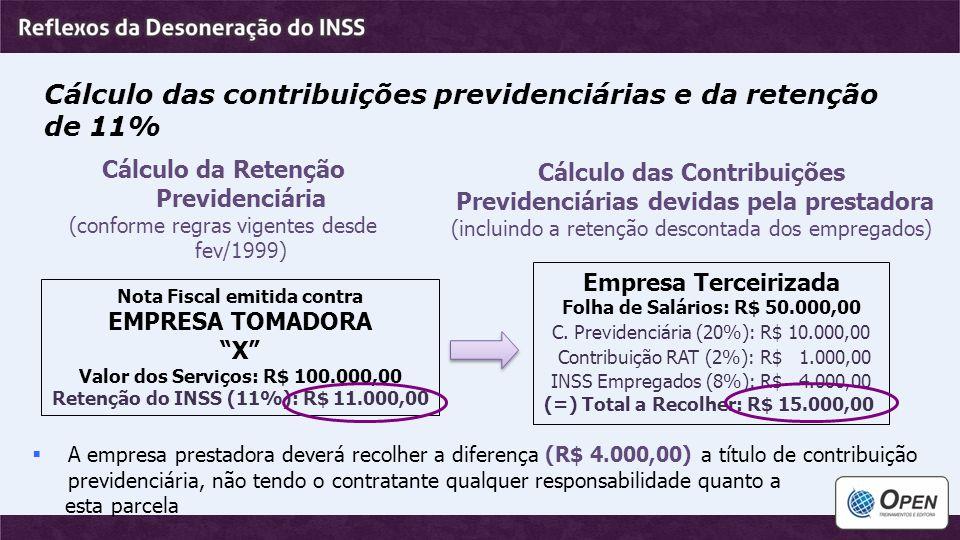 """Cálculo das contribuições previdenciárias e da retenção de 11% Nota Fiscal emitida contra EMPRESA TOMADORA """"X"""" Valor dos Serviços: R$ 100.000,00 Reten"""