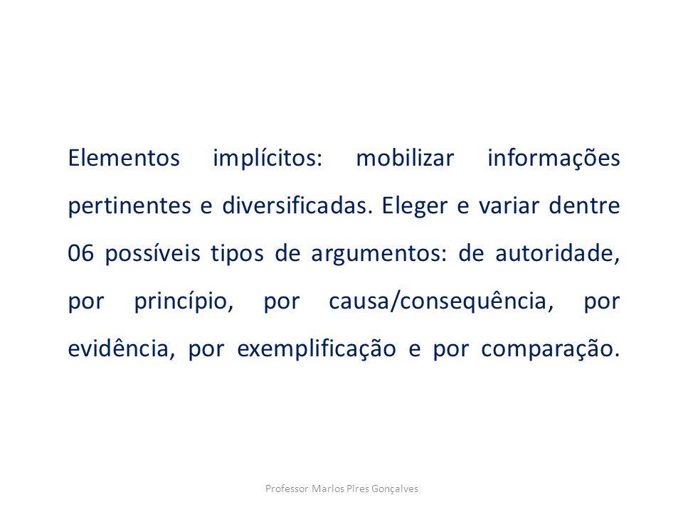 Elementos implícitos: mobilizar informações pertinentes e diversificadas. Eleger e variar dentre 06 possíveis tipos de argumentos: de autoridade, por