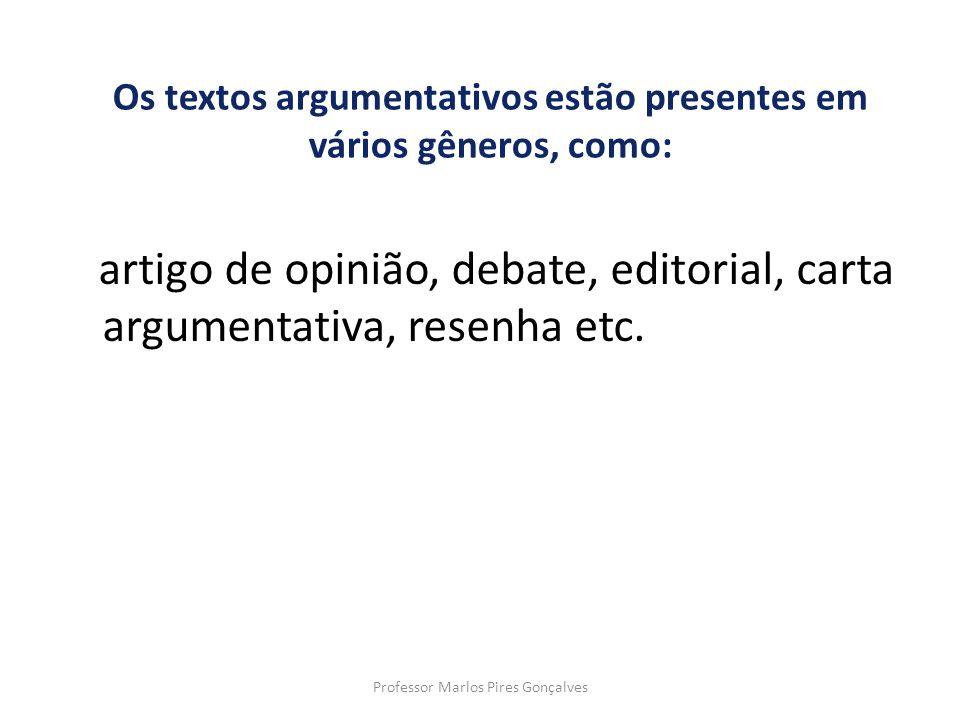 Os textos argumentativos estão presentes em vários gêneros, como: artigo de opinião, debate, editorial, carta argumentativa, resenha etc. Professor Ma