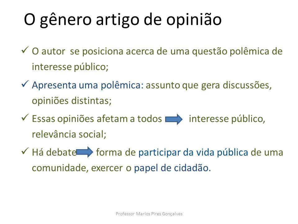 O gênero artigo de opinião O autor se posiciona acerca de uma questão polêmica de interesse público; Apresenta uma polêmica: assunto que gera discussõ