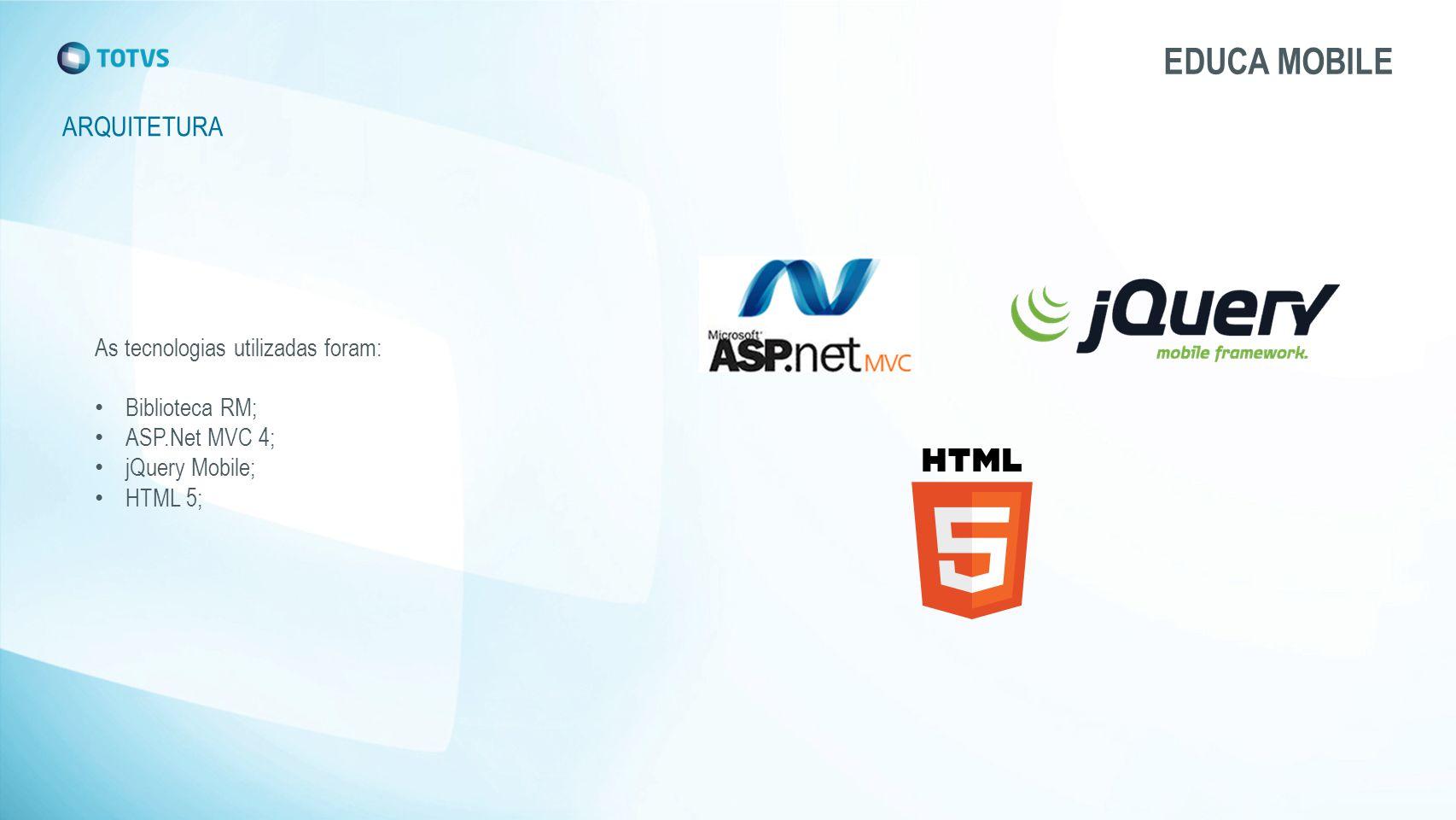 EDUCA MOBILE ARQUITETURA As tecnologias utilizadas foram: Biblioteca RM; ASP.Net MVC 4; jQuery Mobile; HTML 5;
