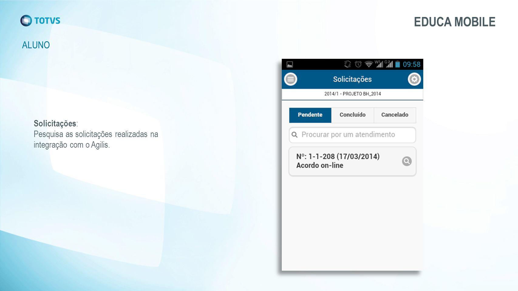 ALUNO EDUCA MOBILE Solicitações : Pesquisa as solicitações realizadas na integração com o Agilis.
