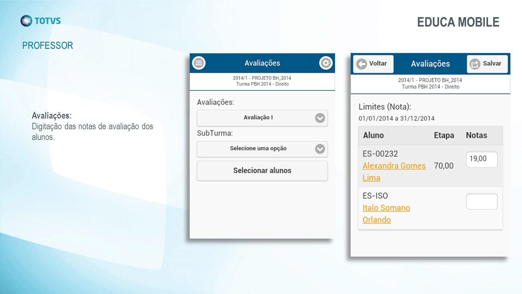 PROFESSOR EDUCA MOBILE Avaliações: Digitação das notas de avaliação dos alunos.