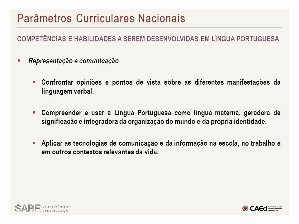 COMPETÊNCIAS E HABILIDADES A SEREM DESENVOLVIDAS EM LÍNGUA PORTUGUESA  Representação e comunicação  Confrontar opiniões e pontos de vista sobre as d