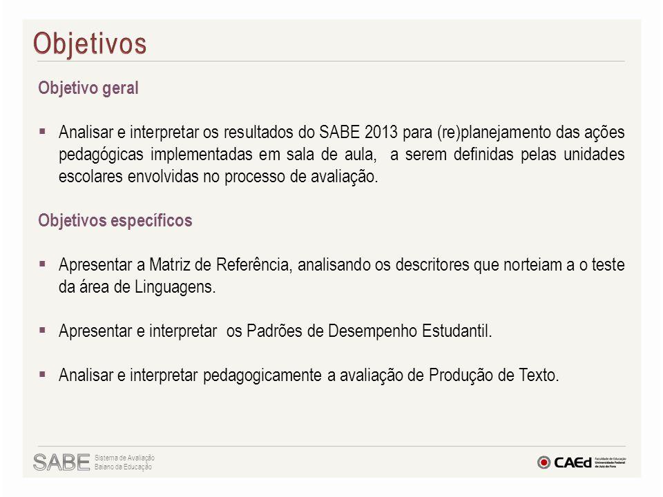 Objetivo geral  Analisar e interpretar os resultados do SABE 2013 para (re)planejamento das ações pedagógicas implementadas em sala de aula, a serem