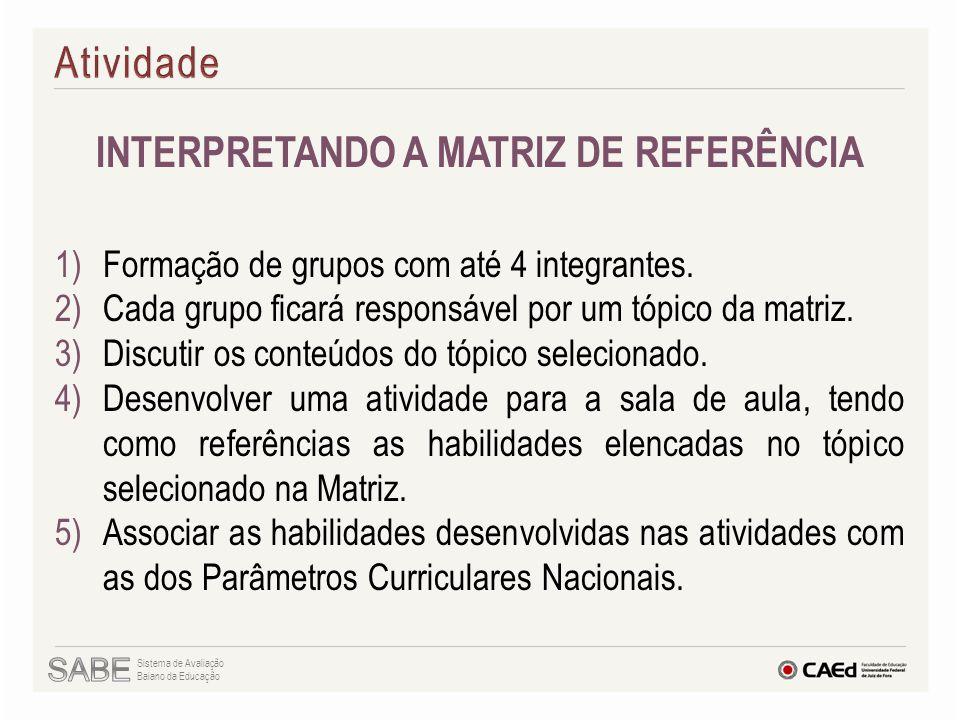 INTERPRETANDO A MATRIZ DE REFERÊNCIA 1)Formação de grupos com até 4 integrantes. 2)Cada grupo ficará responsável por um tópico da matriz. 3)Discutir o