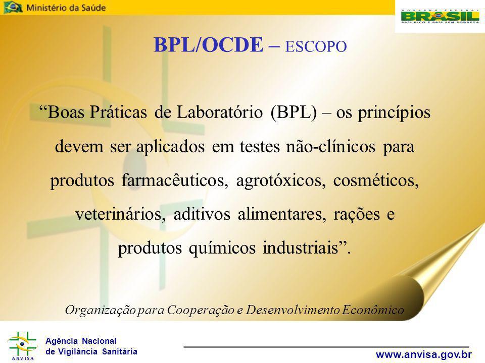 Agência Nacional de Vigilância Sanitária www.anvisa.gov.br Boas Práticas de Laboratório (BPL) – os princípios devem ser aplicados em testes não-clínicos para produtos farmacêuticos, agrotóxicos, cosméticos, veterinários, aditivos alimentares, rações e produtos químicos industriais .