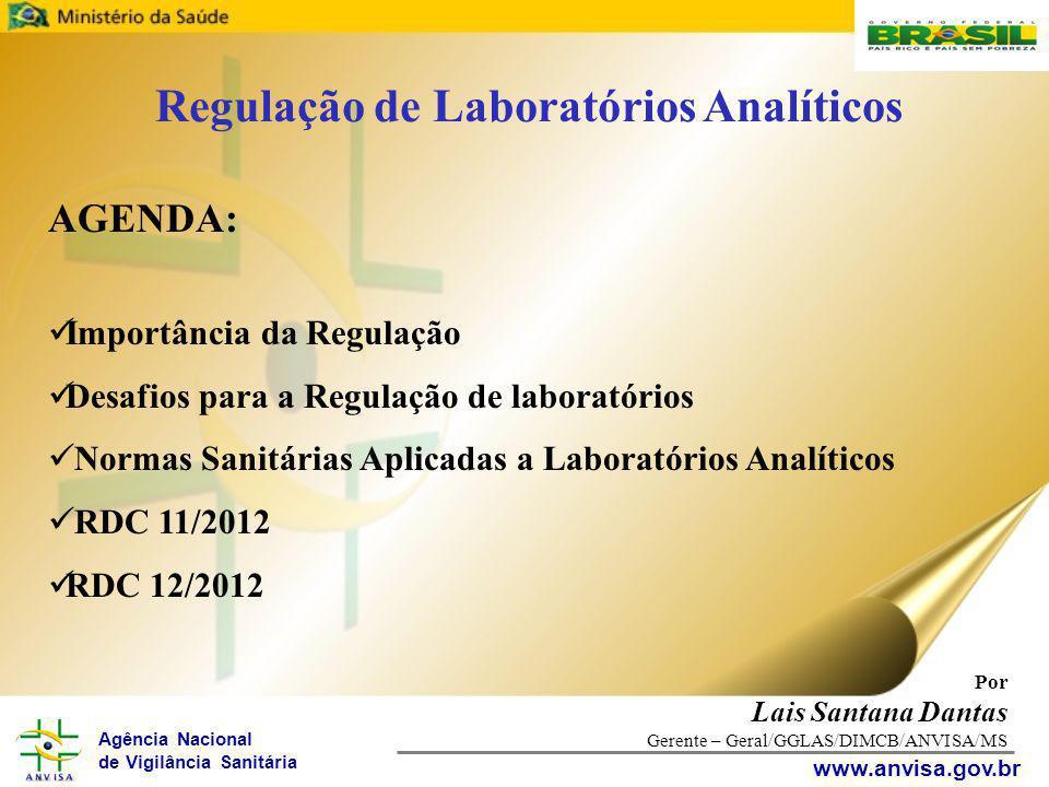 Agência Nacional de Vigilância Sanitária www.anvisa.gov.br Por Lais Santana Dantas Gerente – Geral/GGLAS/DIMCB/ANVISA/MS AGENDA: Importância da Regula