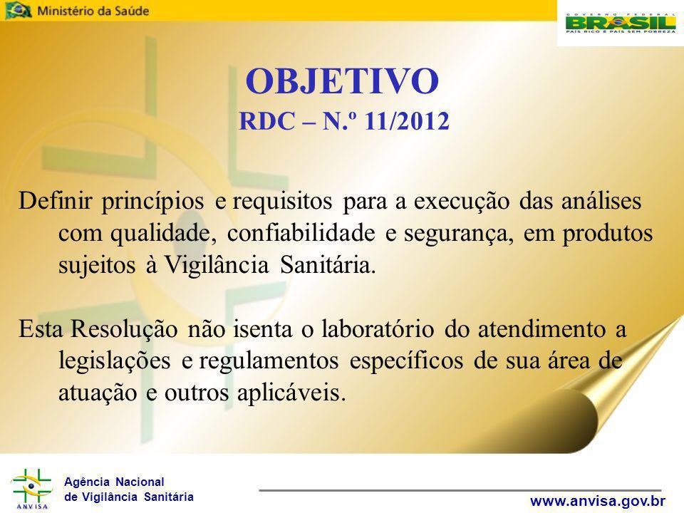 Agência Nacional de Vigilância Sanitária www.anvisa.gov.br Definir princípios e requisitos para a execução das análises com qualidade, confiabilidade e segurança, em produtos sujeitos à Vigilância Sanitária.
