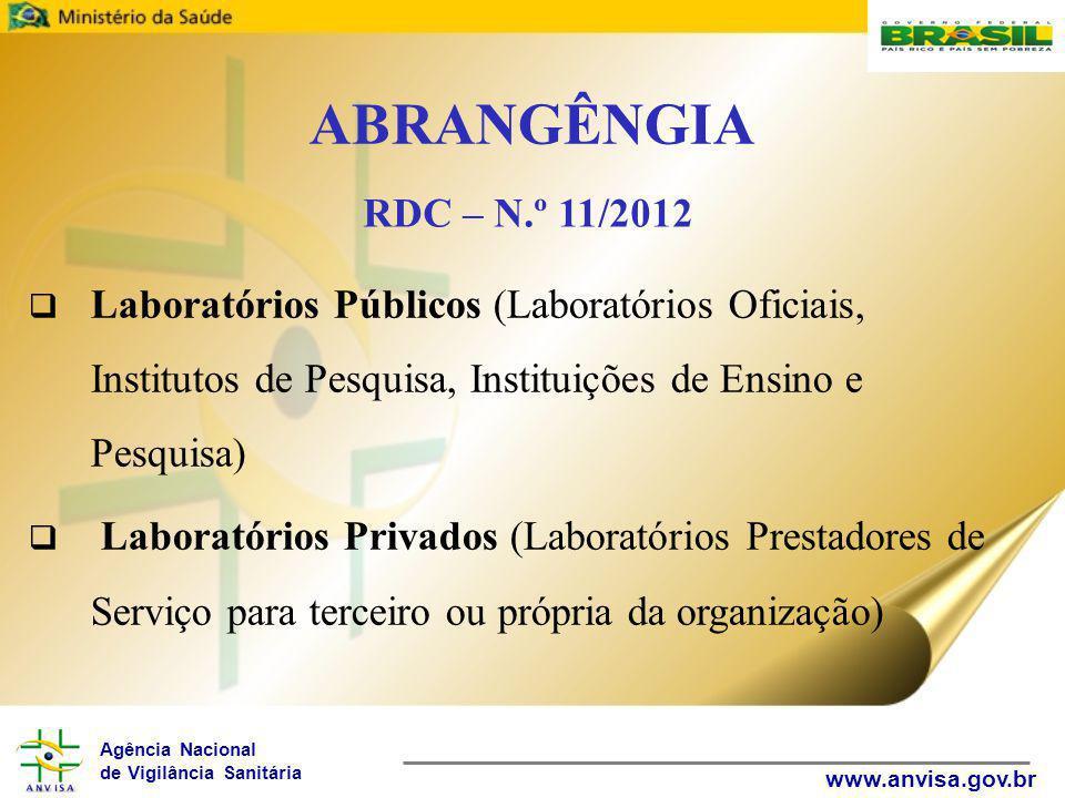 Agência Nacional de Vigilância Sanitária www.anvisa.gov.br ABRANGÊNGIA  Laboratórios Públicos (Laboratórios Oficiais, Institutos de Pesquisa, Instituições de Ensino e Pesquisa)  Laboratórios Privados (Laboratórios Prestadores de Serviço para terceiro ou própria da organização) RDC – N.º 11/2012