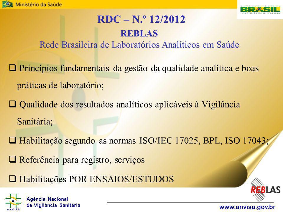 Agência Nacional de Vigilância Sanitária www.anvisa.gov.br  Princípios fundamentais da gestão da qualidade analítica e boas práticas de laboratório;