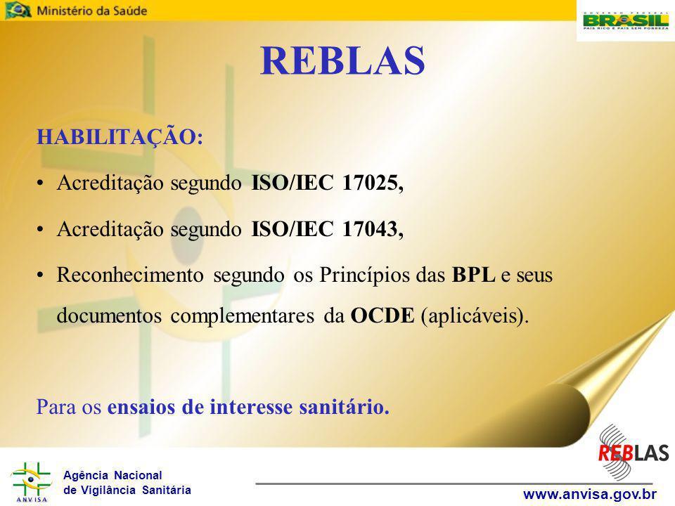 Agência Nacional de Vigilância Sanitária www.anvisa.gov.br REBLAS HABILITAÇÃO: Acreditação segundo ISO/IEC 17025, Acreditação segundo ISO/IEC 17043, Reconhecimento segundo os Princípios das BPL e seus documentos complementares da OCDE (aplicáveis).